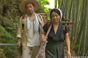 Passionate Japanese Couple Strip And Get Their Freak On Outdoors